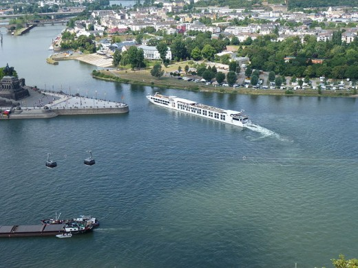 our ship leaves the Rhine and joins the Moselle at German corner, Koblenz.