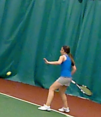 Cross-court inside out forehand practice.