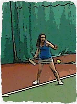 Young tennis player, Megan, practices hitting forehands.