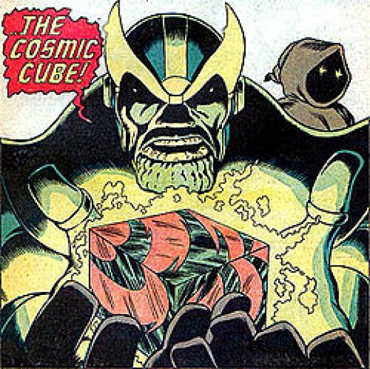 Thanos holding the Cosmic Cube (Tasseract) with Death to the right.