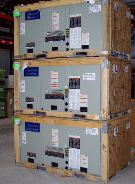 A stack of roof top units for mid-sized commercial buildings.