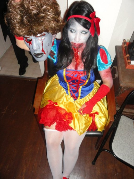 Me as Zombie Snow White with her Prince Charming's decapitated head, Halloween 2010
