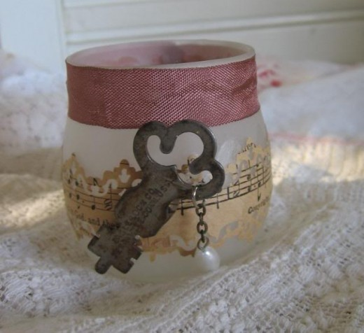 Vintage paper, ribbon, key and dangle