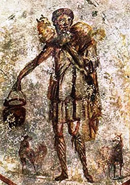 3rd Century catacombe painting of Christ as the Good Shepherd. Jesus is an actual historical figure who has become all things to all people, but demanded to be everything for each person.