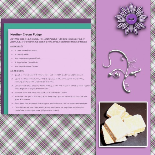 Made using a checked background paper and a strip of matching purple paper and floral embellishments topped off with a purple button to add extra dimension to the page.  It features the recipe for fudge along with a photograph of the finished product