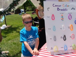 My nephew is selling bracelets.  Each color symbolizes a different type of cancer.