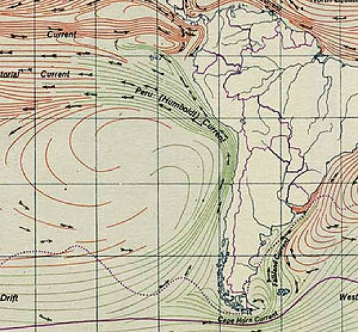 The Humboldt Stream plays a major role in the climates of Peru, Chile and the Pacific nations. The Moon's tides have a strong impact on ocean currents, and consequently on the climate as well.