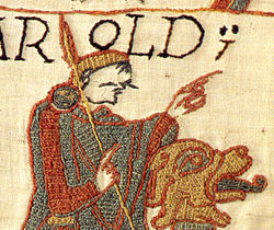 Detail of the Bayeux Tapestry showing backstitch variants