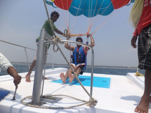 Parasailing near Baga Beach in Goa.