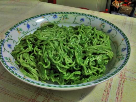 Lovely green pasta