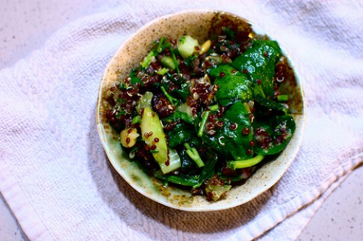A salad using red quinoa