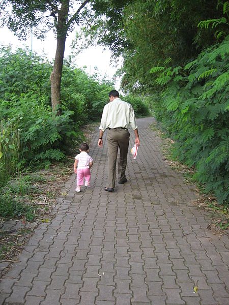 A dad walking his daughter down a brick path