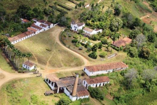 A traditional Brazilian engenho its premises, church, boiler house, mill house and residential area.