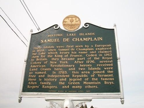 HIstorical plaque, Alburgh, Vermont, recalling Samuel de Champlain
