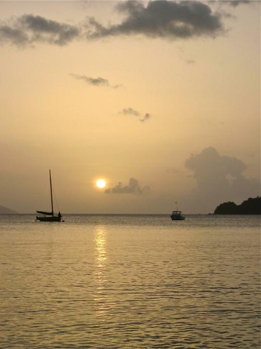 Sailboat against the sunset on St. John Island.