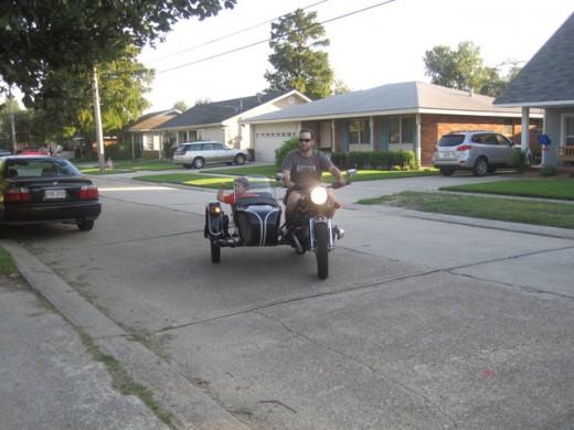 Driving the neighborhood kids around the block.