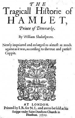 'Third en:quarto of en:Hamlet (1605)'. 'Faithful photographic reproduction of an original two-dimensional work of art' in public domain. See: http://en.wikipedia.org/wiki/File:Hamlet_quarto_3rd.jpg