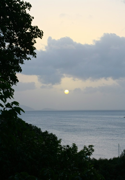 From the hill on Maho Bay, you'll enjoy great views as sun dips below the Caribbean every evening.