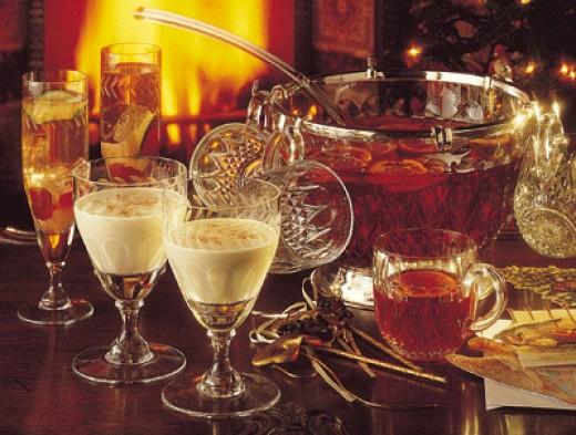 Traditional eggnog, coffeenog, christmas punch