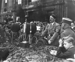 Hitler making a speech during the Great Depression.