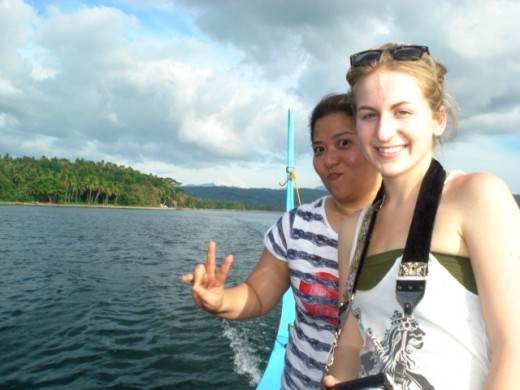 with CSer Maymie (Canada) on a boat ride to Taal Volcano