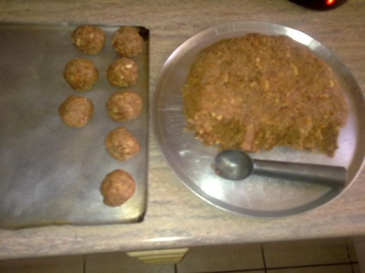 meatball making in progress