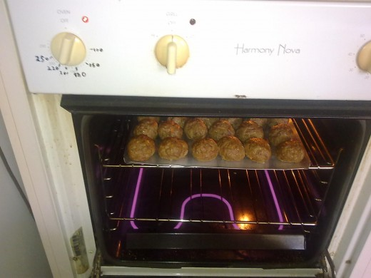 meatball making in the oven