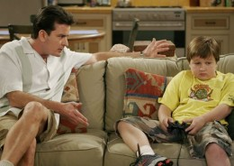 Chalie having a chat with Jake on the TV Show Two and a Half Men Season 3.
