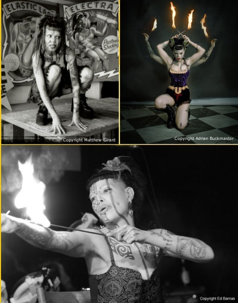 Fire eater, breather and sword swallower, Insectavora.