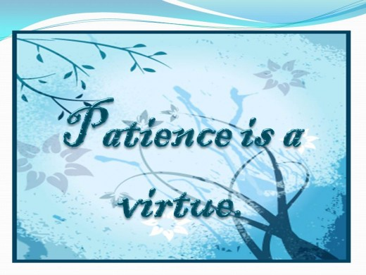 Patience is a virtue (From a proverb)