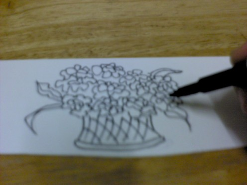 Draw a basket of flowers