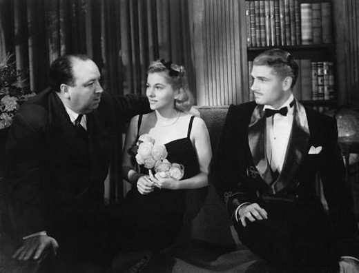 Alfred Hitchcock with Joan Fontaine and Laurence Olivier