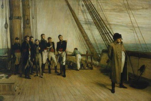 Napoleon staring out to sea, while the British officers look on out of curiosity.