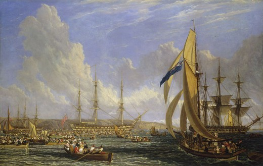 HMS Bellerophon and Napoleon spent a short time in Plymouth, England. Whilst there, crowds of locals rushed out in small boats, hoping to catch a glimpse of the man who had once ruled Europe.