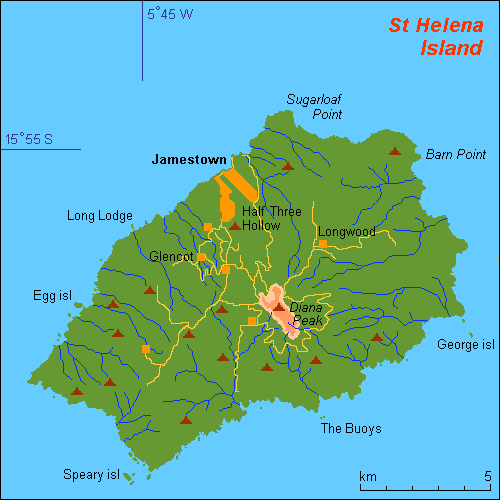A map of St. Helena, including the location of Longwood, Napoleon's residence.