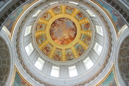 The dome that overlooks Napoleon's tomb in Les Invalides, France.