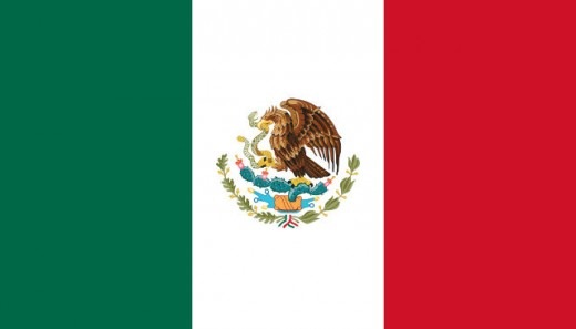 The flag of Mexico showing the Eagle, snake and cactus - the prophetic emblem of the Aztecs.