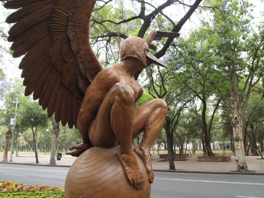 """Bernardo Oriental Monumental (Monumental Oriental Bernardo)"" 2008. Bronze Sculpture by Mexican Artist Jorge Marin. Mexico City Open Air Exhibit at ""Paseo de la Reforma (Chapultepec)""."