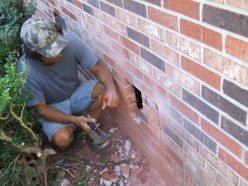 In this case we had to punch out brick in the center because of the odd location of the vent,  Once you remove a few brick the rest will be easy to get out.