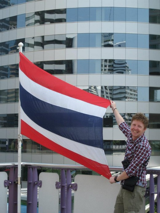 The Thai flag and I.