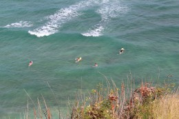 Popular surfing spot below the cliffs