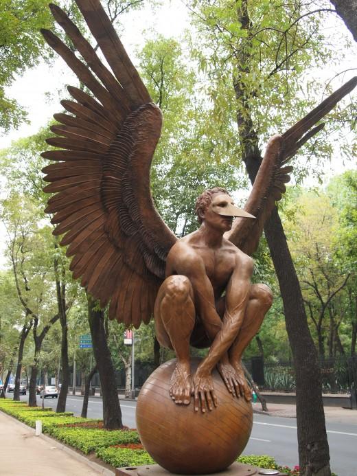 """Archivaldo"" 2008. Bronze Sculpture by Mexican Artist Jorge Marin. Mexico City Open Air Exhibit at ""Paseo de la Reforma (Chapultepec)""."