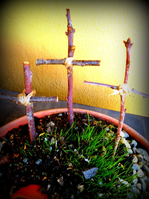 A photograph I took of a project my neighbor and I did for this past Easter. We created a bowl with an empty tomb, made crosses out of wood and grew grass in the pot.