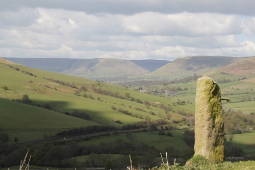 Glorious views of the Edale Valley with Kinder Scout in the distance at 636m height