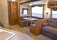 The trailer's cabinet doors look good but aren't as durable as your home cabinet doors.