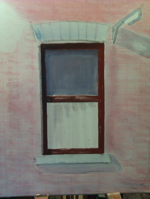 Start adding oil paint from the centre outwards. In this case, the window glass gets a thin coat, and the wood frame a slightly textured layer.