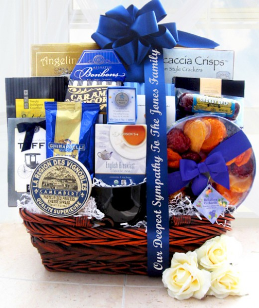 Gourmet Food Basket with Custom Imprinted Ribbon Expressing Your Condolences