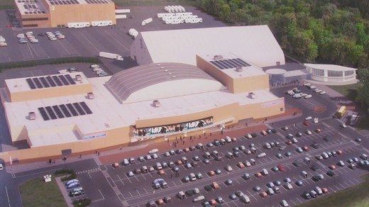 Aerial shot of Sun Center Studios, located in Chester Township
