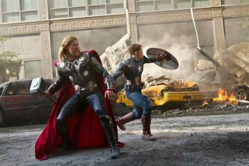 Thor and Captain America defending Earth