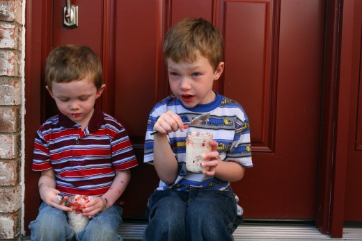 A little chilly outside - eating their Eton Mess.